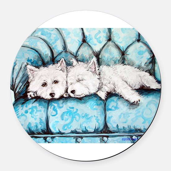 Couch potatoes.png Round Car Magnet