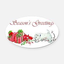 Seasons Greetings.png Oval Car Magnet
