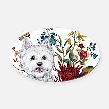 Westie Terrier in the Garden Oval Car Magnet