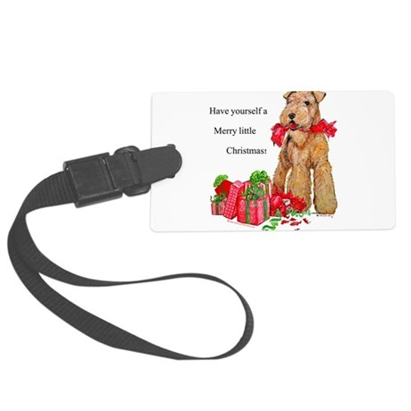 Airedale 11x11 Merry Christmas.png Large Luggage T