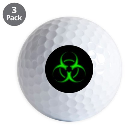 Neon Green Biohazard Symbol Golf Balls