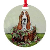 Basset holiday hound Ornaments
