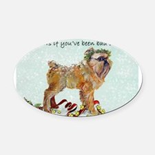 Brussels Griffon Christmas Oval Car Magnet