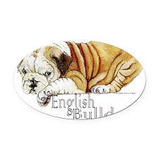 English Bulldogs Oval Car Magnet