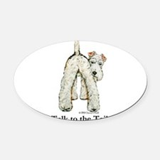 Wire Fox Terrier Tail WFT Oval Car Magnet