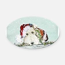 fox Santa card.png Oval Car Magnet