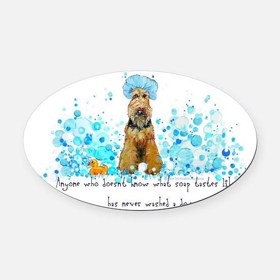 dog wash 14 x 6.png Oval Car Magnet