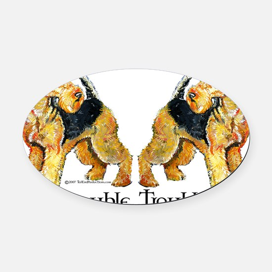 Double Trouble.png Oval Car Magnet