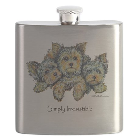 Yorkie Pups 10x10.png Flask