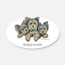 Yorkie Pups 10x10.png Oval Car Magnet