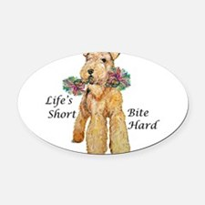 airedale10x10 bite hard - flat.png Oval Car Magnet