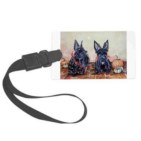 Scottie pumpkins painting.png Large Luggage Tag