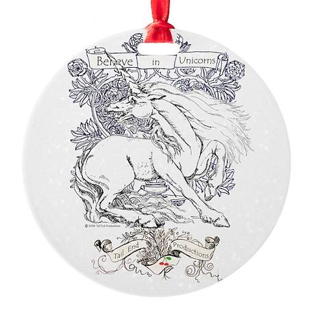 Believe in Unicorns Round Ornament