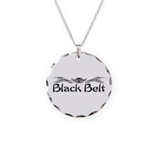 Martial Arts Black Belt Necklace Circle Charm