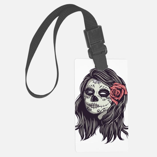Sugar Skull Day Of Dead Girl Red Luggage Tag