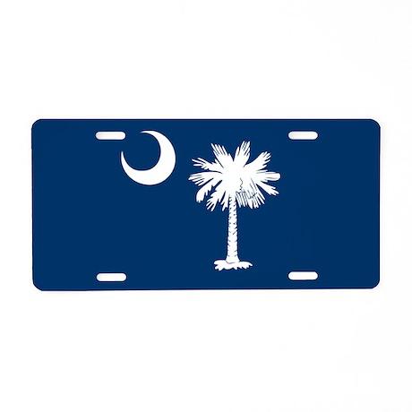 SC Palmetto Flag Aluminum License Plate