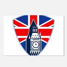 Big Ben British Flag Shield Postcards (Package of