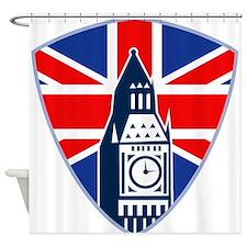 Big Ben British Flag Shield Shower Curtain