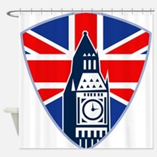 Big Ben British Flag Shield Shower Curtain