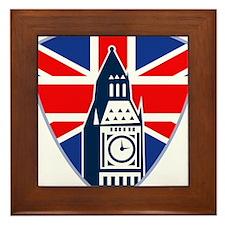 Big Ben British Flag Shield Framed Tile