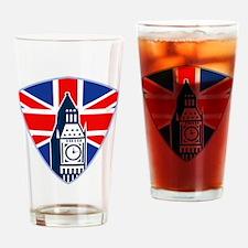 Big Ben British Flag Shield Drinking Glass