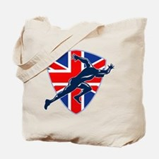 Runner Sprinter Start British Flag Shield Tote Bag