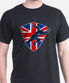 Runner Sprinter Start British Flag Shield T-Shirt