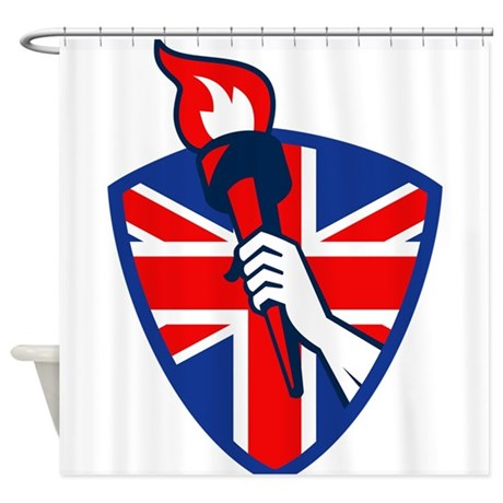 Hand Holding Flaming Torch British Flag Shower Cur