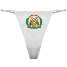 Crossed Chainsaw Timber Wood Leaf Classic Thong