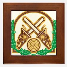 Crossed Chainsaw Timber Wood Leaf Framed Tile