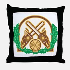Crossed Chainsaw Timber Wood Leaf Throw Pillow