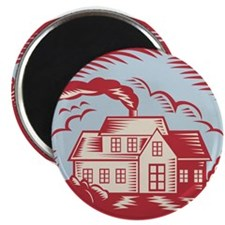 """House Homestead Cottage Woodcut 2.25"""" Magnet (10 p"""