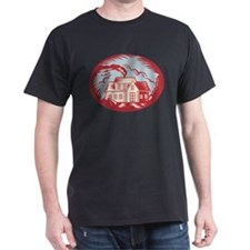 House Homestead Cottage Woodcut T-Shirt