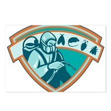 Pest Control Exterminator Worker Shield Postcards