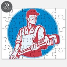 Plumber Worker Monkey Wrench Retro Puzzle