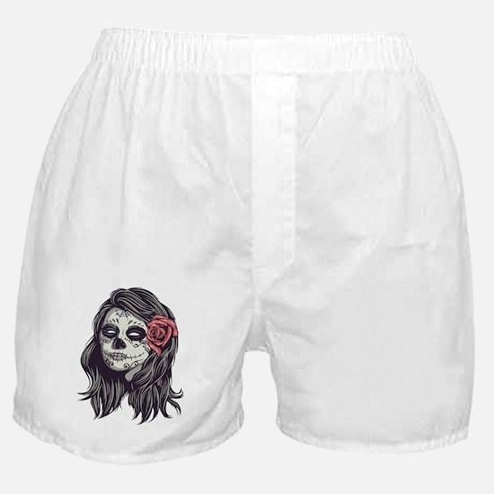 Sugar Skull Day of Dead Girl Red Rose Boxer Shorts