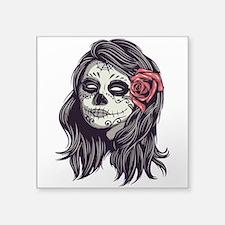 Sugar Skull Day Of Dead Girl Red Rose Sticker