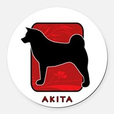 4-redsilhouette.png Round Car Magnet