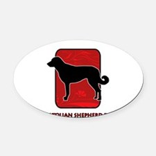 9-redsilhouette.png Oval Car Magnet