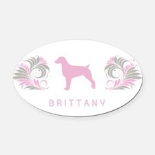 34-pinkgray.png Oval Car Magnet