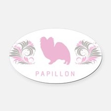 5-pinkgray.png Oval Car Magnet