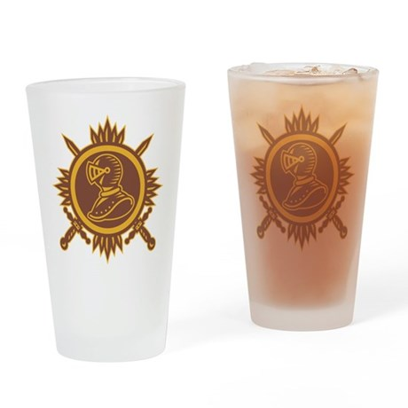 Knight With Crossed Sword Retro Drinking Glass