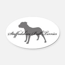 15-greysilhouette2.png Oval Car Magnet
