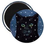 Black Cat in Falling Snow Magnet