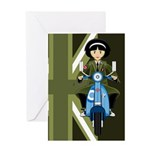 Mod Girl on Retro Scooter Greeting Card