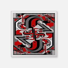"""Vintage Deco Tech Square Sticker 3"""" x 3"""""""