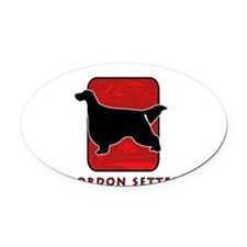 23-redsilhouette.png Oval Car Magnet