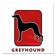 """27-redsilhouette.png Square Car Magnet 3"""" x 3"""""""