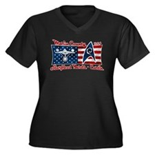 Marin County Starfleet Flag Women's Plus Size V-Ne