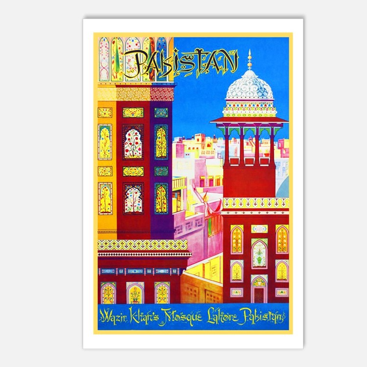 Pakistan Travel Poster 1 Postcards (Package of 8)